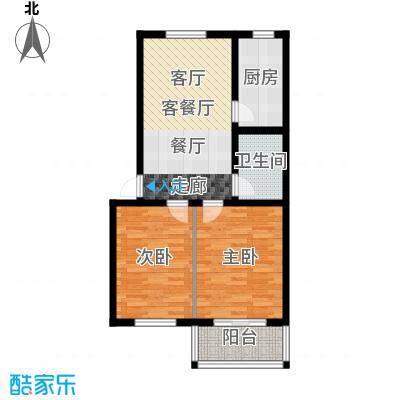 徐水幸福家园70.00㎡两室两厅一卫户型