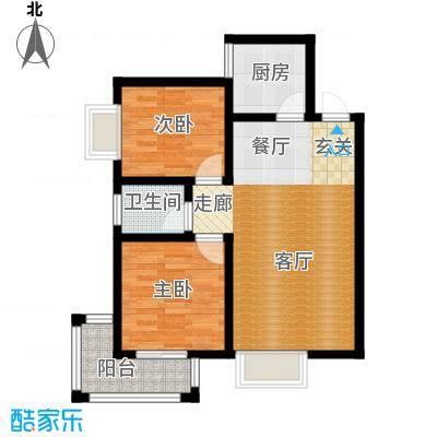 希尔国际公馆76.00㎡76平米两室两厅一卫户型