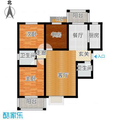 希尔国际公馆120.00㎡120平米三室两厅两卫户型
