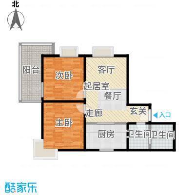 龙首领域85.00㎡85平米两室一厅一厨一卫户型