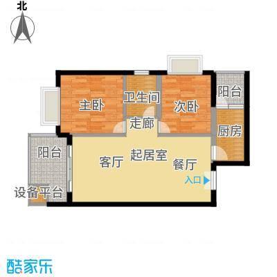 龙沐湾1号海景公馆87.00㎡A户型2室2厅1卫