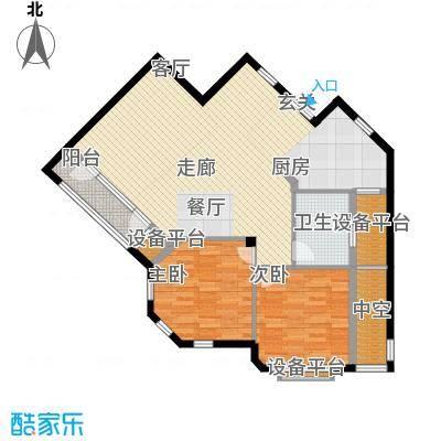 绿城理想之城97.08㎡二室二厅一卫建筑面积108.13平方米户型