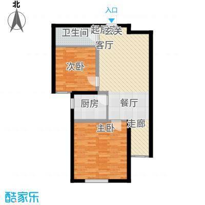 国色大观75.00㎡C户型两室一厅一卫户型2室1厅1卫