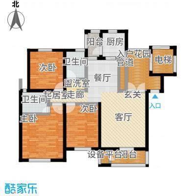 世纪梧桐公寓113.16㎡D型 三室二厅二卫户型