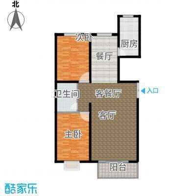 博鑫青年城116.00㎡两室两厅一卫户型2室2厅1卫