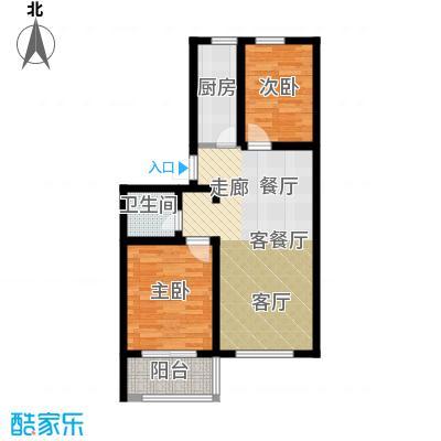 公园里82.00㎡2#3#4#5#(奇数)号楼F户型2室2厅1卫
