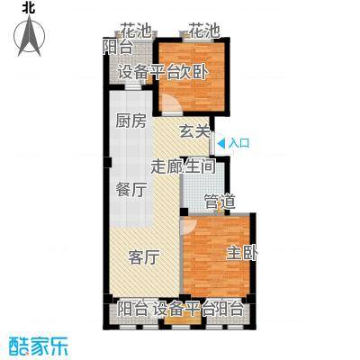 绿城理想之城97.08㎡二室二厅一卫建筑面积98.96平方米户型