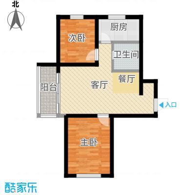 公园里74.00㎡2#3#4#5#(偶数)号楼E户型2室2厅1卫
