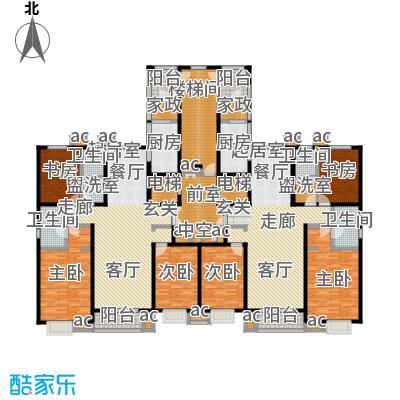 九号国际城167.60㎡F座 三室两厅两卫户型