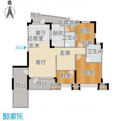 沈阳雅居乐花园155.13㎡B9户型三室二厅二卫户型3室2厅2卫-1
