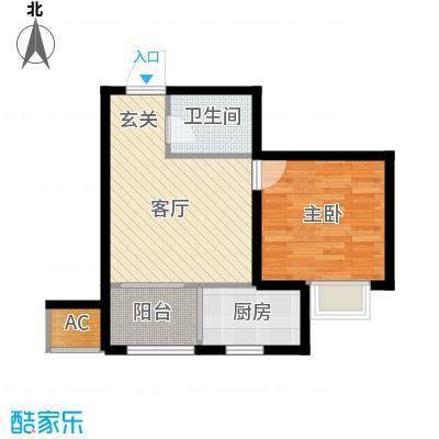 九号国际城50.37㎡一室一厅一卫户型1室1厅1卫