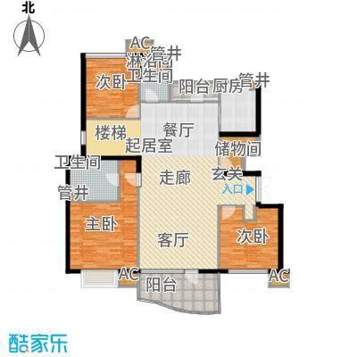 沈阳雅居乐花园180.60㎡A8户型三室二厅二卫户型3室2厅2卫