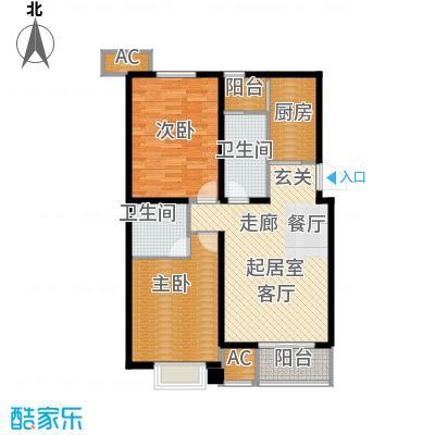 九号国际城95.35㎡两室两厅两卫户型