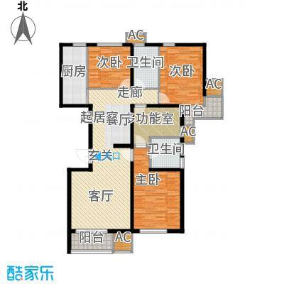 九号国际城134.30㎡D1三室两厅两卫加多功能房户型