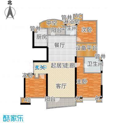 沈阳雅居乐花园153.93㎡A5户型三室二厅二卫户型3室2厅2卫
