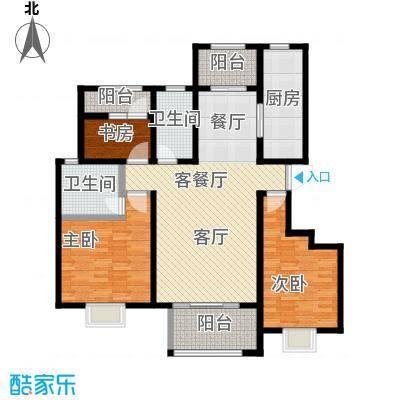 鑫苑湖居世家洋房,标准层,125㎡,三室两厅两卫户型3室2厅2卫