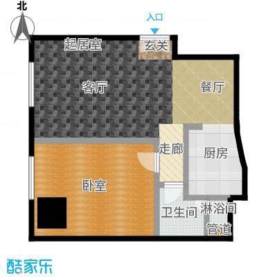 迎宾国际公寓82.93㎡1门02户型 一室一厅户型