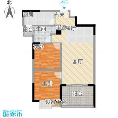 三和悦城两房两厅一卫面积为88.43平方户型
