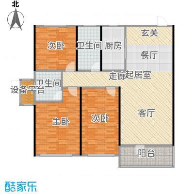 中海康城125.00㎡小高层GF户型 三室两厅两卫户型3室2厅2卫