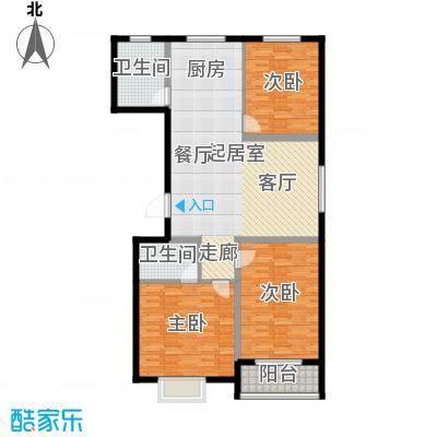 唐县丽景花园111.06㎡F户型三室两厅两卫户型3室2厅2卫