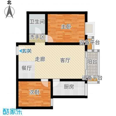 银海水韵(二期华泰御景)92.75㎡二室一厅一卫户型