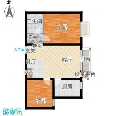 银海水韵(二期华泰御景)87.80㎡二室一厅一卫户型