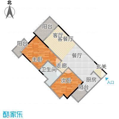 中海金沙苑79.06㎡9栋-203户型2室1厅1卫