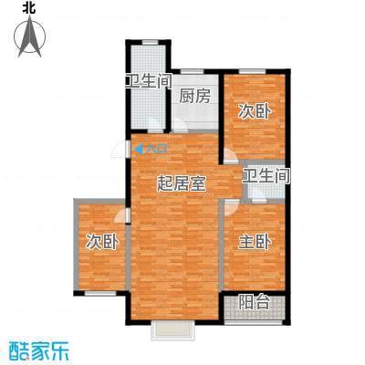 丽景花园131.58㎡B户型三室两厅两卫户型