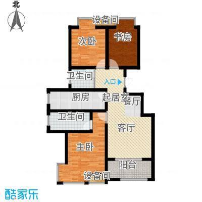 荣盛香缇澜山115.90㎡小高层G88-A户型 三室两厅两卫户型3室2厅2卫