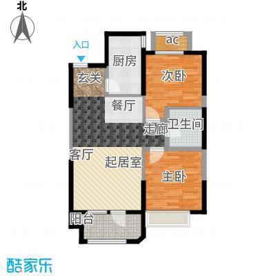金地锦城90.00㎡高层8号楼11号楼 两室两厅一卫户型2室2厅1卫