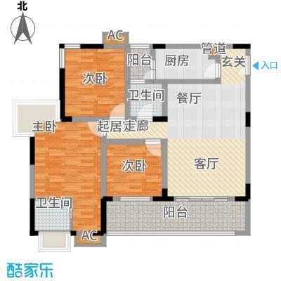 誉峰B户型为三室两厅两卫,产权面积为111.15m²,实得面积为118.96m²户型