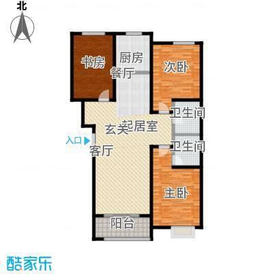 利家世纪城137.00㎡B户型三室两厅两卫户型3室2厅2卫