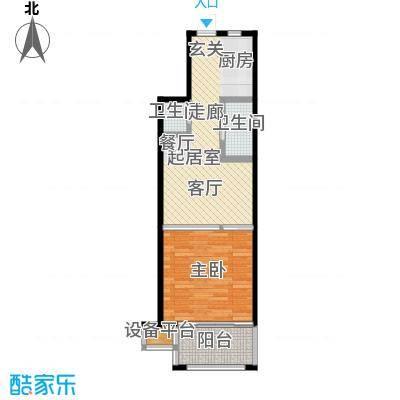 望虞花园48.88㎡1#单身公寓标准层1户型1室1厅1卫