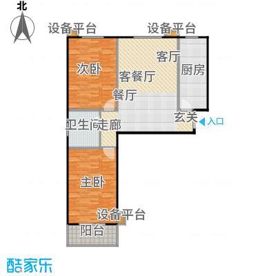 满城中景华庭101.21㎡B10户型两室两厅一卫户型2室2厅1卫