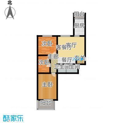 万豪诚品102.00㎡F1户型 三室一厅一卫 102平米户型3室1厅1卫