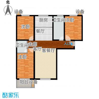 阳光盛景139.65㎡H1三室两厅两卫户型