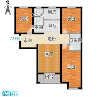 顺平水木清华124.34㎡三室两厅两卫户型3室2厅2卫