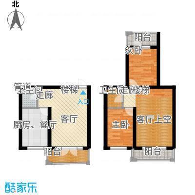 富佳新天地项目E-4复式户型2室2厅2卫1厨72.00㎡户型2室2厅2卫