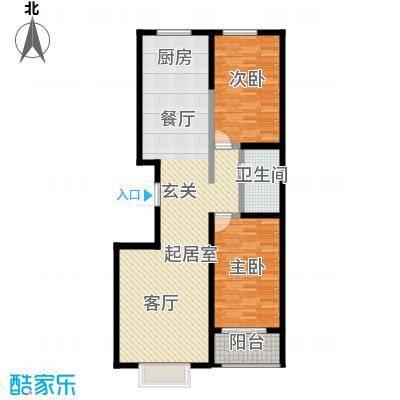 唐县丽景花园100.55㎡B户型两室两厅一卫户型2室2厅1卫