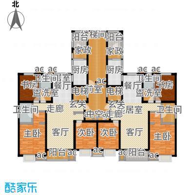 九号国际城156.50㎡三室两厅两卫户型