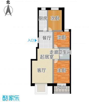 唐县丽景花园110.67㎡K户型三室两厅一卫户型3室2厅1卫