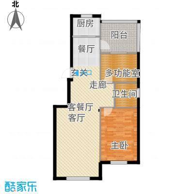 欧韵华庭91.98㎡C户型两室两厅一卫户型2室2厅1卫