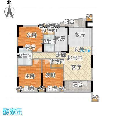 沈阳雅居乐花园142.20㎡B6户型三室二厅二卫户型3室2厅2卫