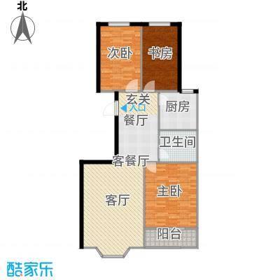 欧韵华庭106.67㎡I户型三室两厅一卫户型3室2厅1卫