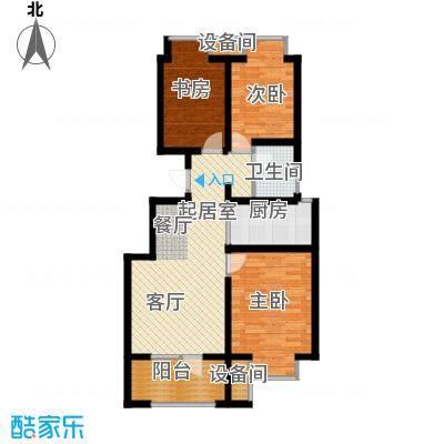 荣盛香缇澜山89.23㎡小高层G83-A户型 三室两厅一卫户型3室2厅1卫