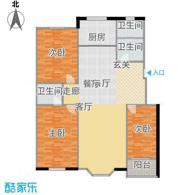 欧韵华庭136.29㎡M户型三室两厅两卫户型3室2厅2卫