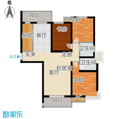 尚层名筑158.58㎡B1-三室两厅两卫户型3室2厅2卫-T