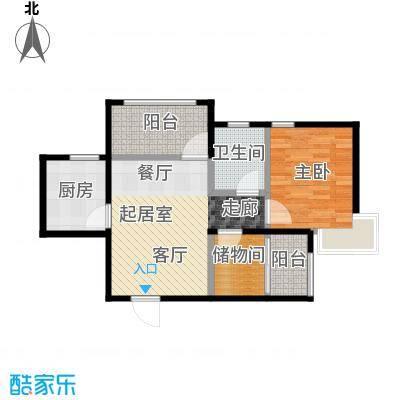 蜜橙61.00㎡C户型1室2厅1卫