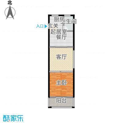 望虞花园61.10㎡1#单身公寓标准层3户型1室2厅1卫
