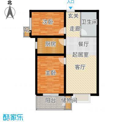 丽景华庭83.71㎡3-F户型两室两厅一卫户型2室2厅1卫